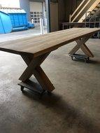 Eettafel, eikenhout, 300 x 100, gekruist onderstel